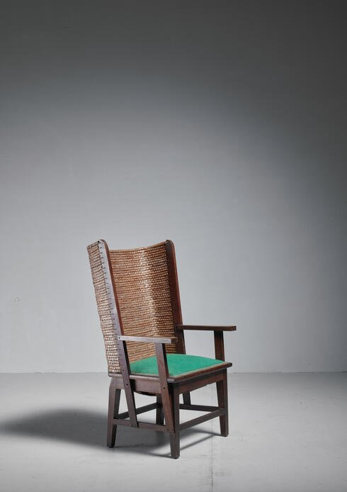Bloomberry - Chris Wegerif Orkney Chair with Green Fabric Seating, Dutch, 1900
