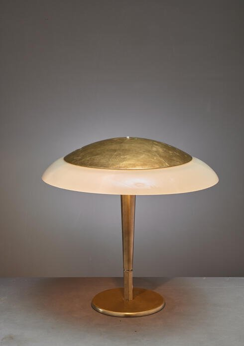Bloomberry - Paavo Tynell 5061 Taito Table Lamp, Brass and Opaline Glass, Finland