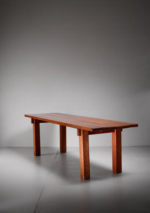 Bloomberry - Charlotte Perriand Brazil table in larch wood, France, 1968