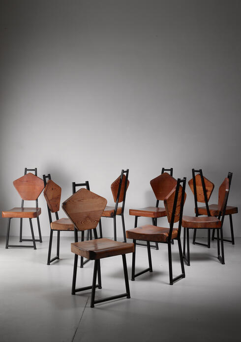 Bloomberry - Set of eight iron and pine dining chairs, France, 1950s