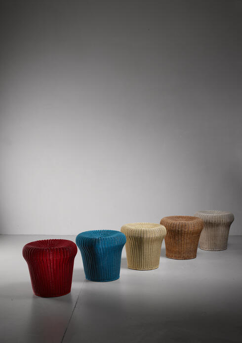 Bloomberry - Egon Eiermann set of five rattan  stools, Germany, 1950s