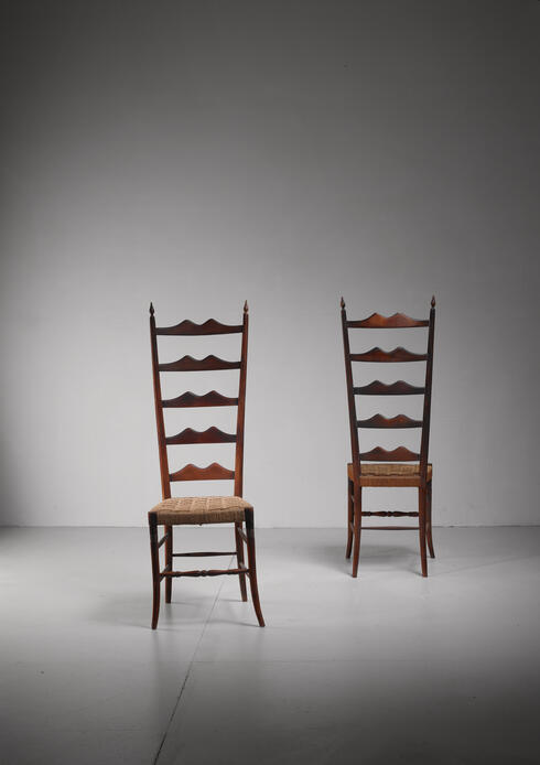 Bloomberry - Pair of oak and seagrass Chiavari chairs, Italy, 1940s