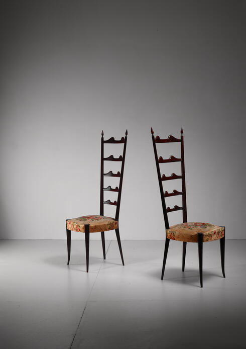 Bloomberry - Paolo Buffa pair of mahogany Chiavari chairs, Italy, 1950s