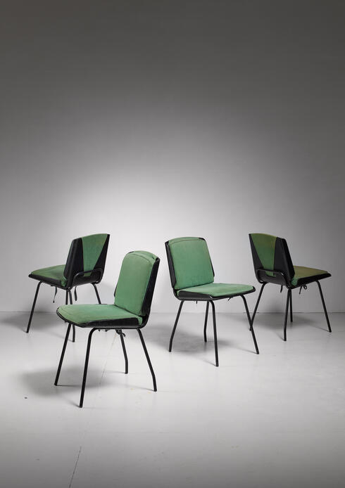 "Bloomberry - Giancarlo de Carlo Four ""Lucania"" Molded Plywood Dining Chairs, Italy, 1950s"