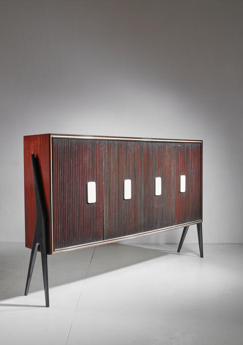 Bloomberry - Osvaldo Borsani Large Mahogany Sideboard with Alabaster Grips, Italy, 1950s