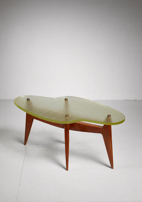 Bloomberry - French Free Form Coffee or side table Table with Glass Top, 1950s
