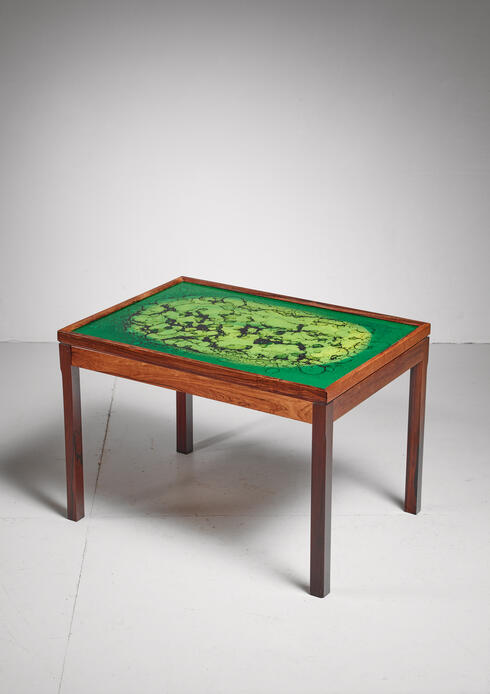 Bloomberry - Wood coffee table with green colored glass top, Sweden