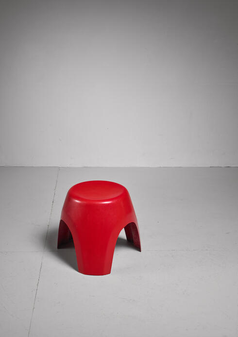Bloomberry - Sori Yanagi rare early red elephant stool for Kotobuki, Japan