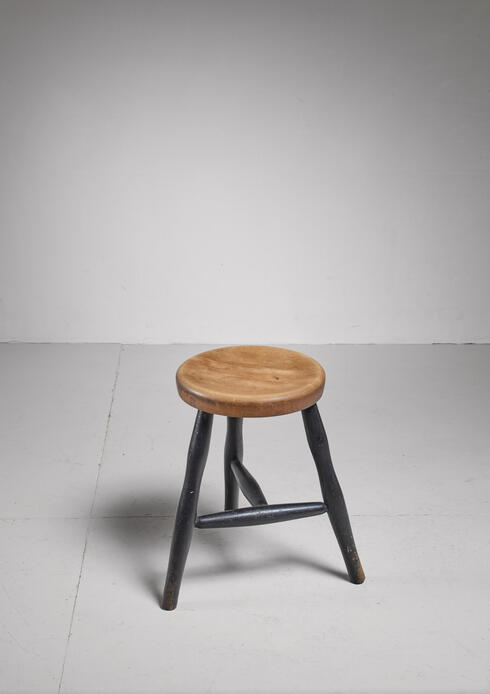 Bloomberry - Tribase Stool with Thick Wooden Seat
