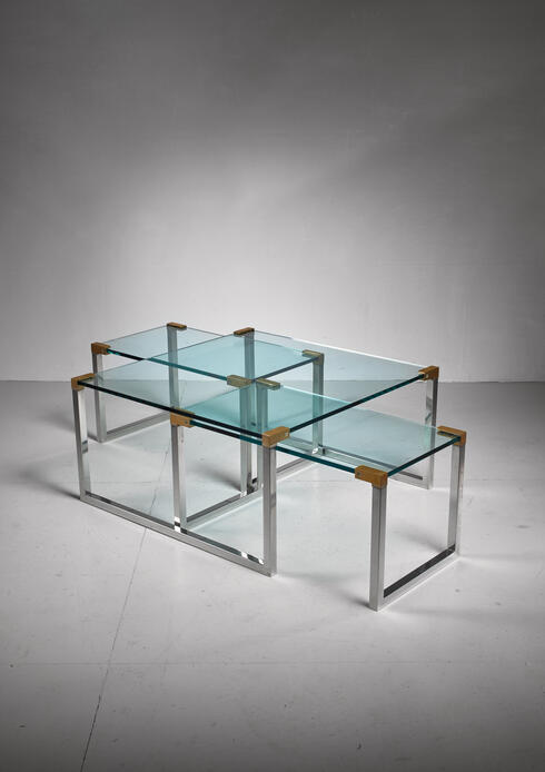 Bloomberry - Peter Ghyczy set of 3 modular glass, brass and chrome tables, Dutch, 1970s