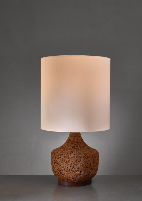 Bloomberry - Cork based table lamp, USA, 1960s