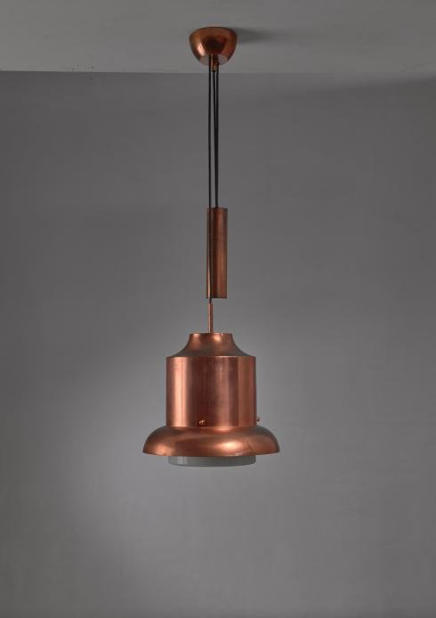 Bloomberry - Sergio Asti copper 'Ebe' pendant with counterweight for Artemide, Italy, 1960s