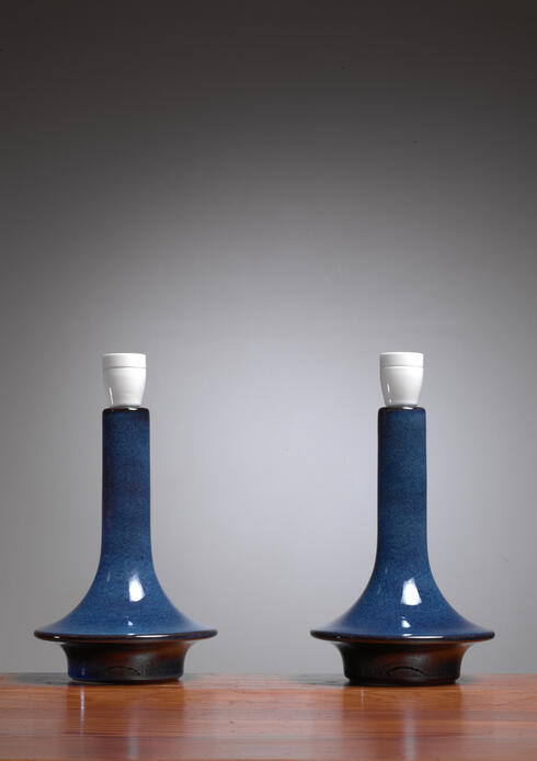 Bloomberry - Pair of blue ceramic table lamps by Soholm, Denmark, 1960s