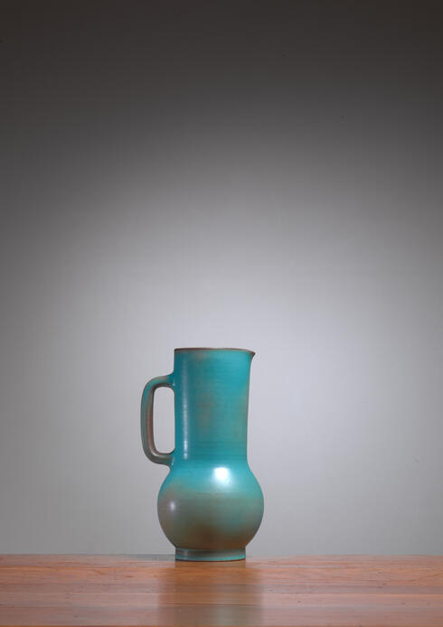 Bloomberry - Suzanne Ramie Greenish Blue Madoura Ceramic Pitcher, Vallauris, France, 1950s