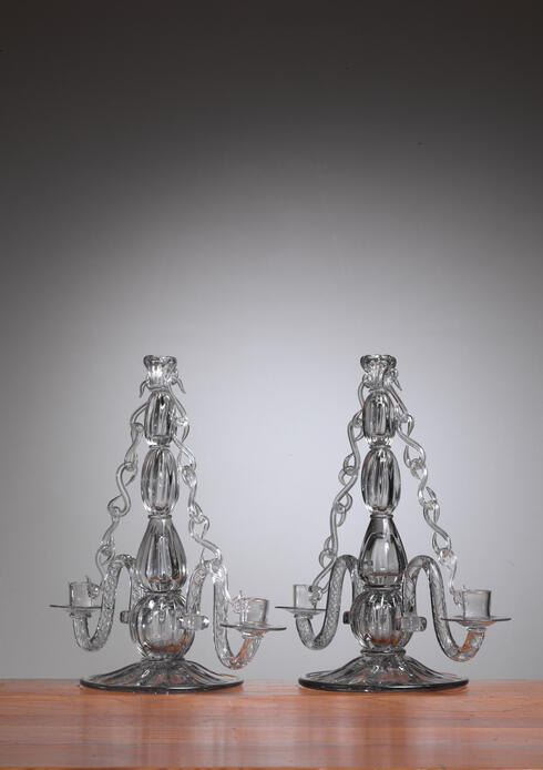 Bloomberry - Gerda Stromberg and Knut Bergqvist Pair of Glass Candelabra, Sweden, 1941