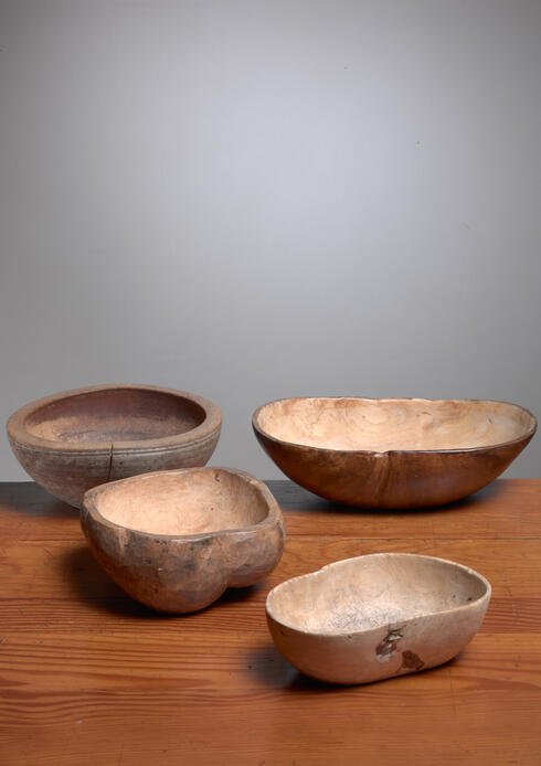 Bloomberry - Four Wooden Folk Art Bowls from Sweden, 19th Century