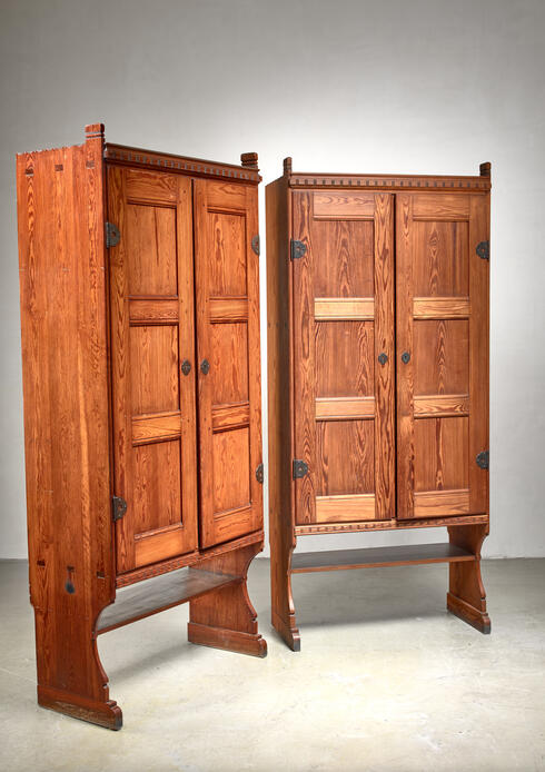 Bloomberry - Martin Nyrop pair of pine cabinets, Denmark, early 20th century