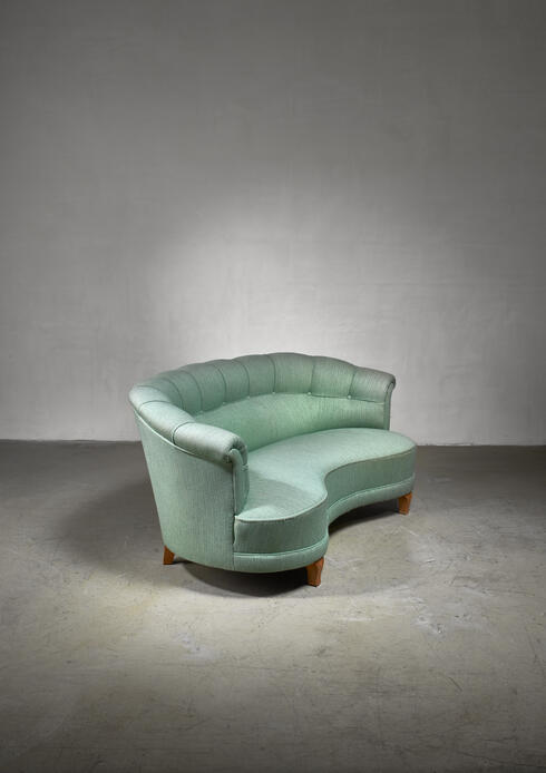 Bloomberry - Light green curved two-seater sofa, Sweden, 1940s