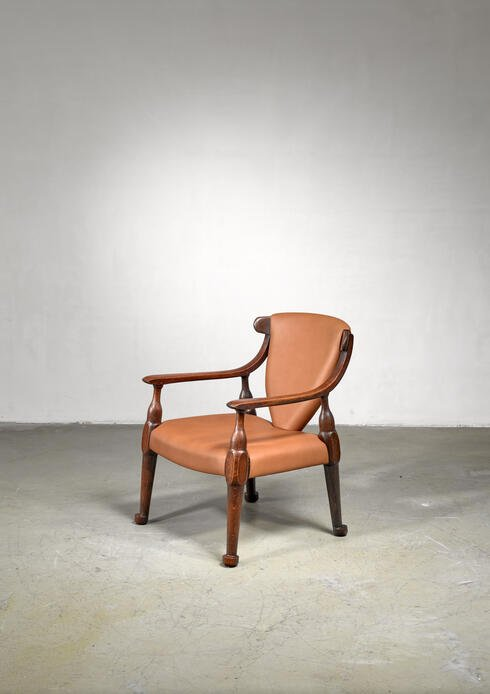 Bloomberry - Sculptural wood and leather side chair, Austria
