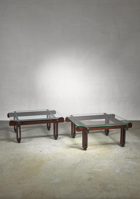 Bloomberry -  Fulvio Raboni pair of wood and glass coffee table, Italy