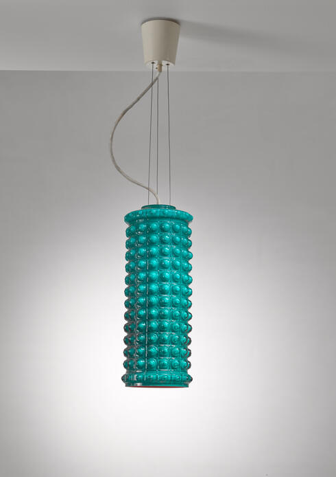 Bloomberry - Sculptural Cylindric Double Layered Glass Pendant, Helena Tynell, Sweden, 1950s