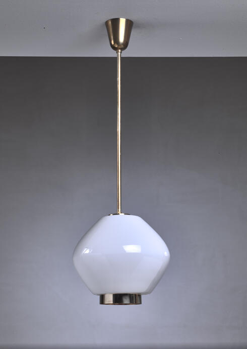 Bloomberry - Paavo Tynell Rare Opaline Glass Pendant for Idman, Finland, 1950s