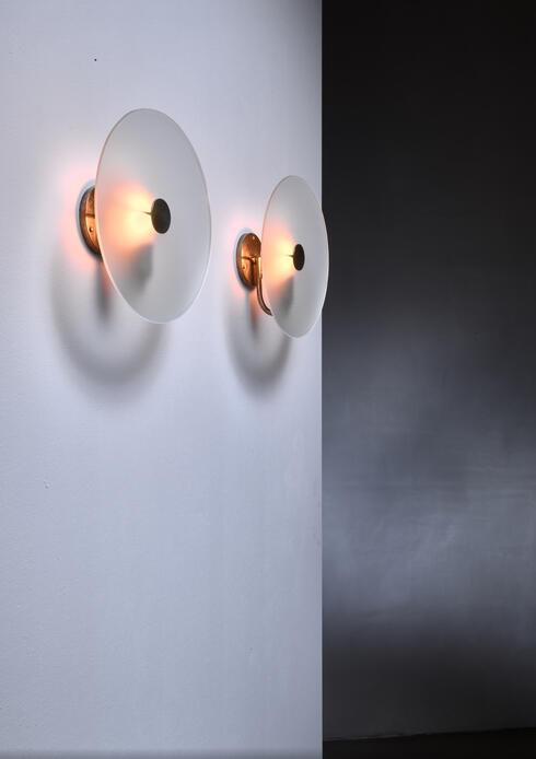 Bloomberry - Frosted glass and brass wall lamps, Sweden, 1930s