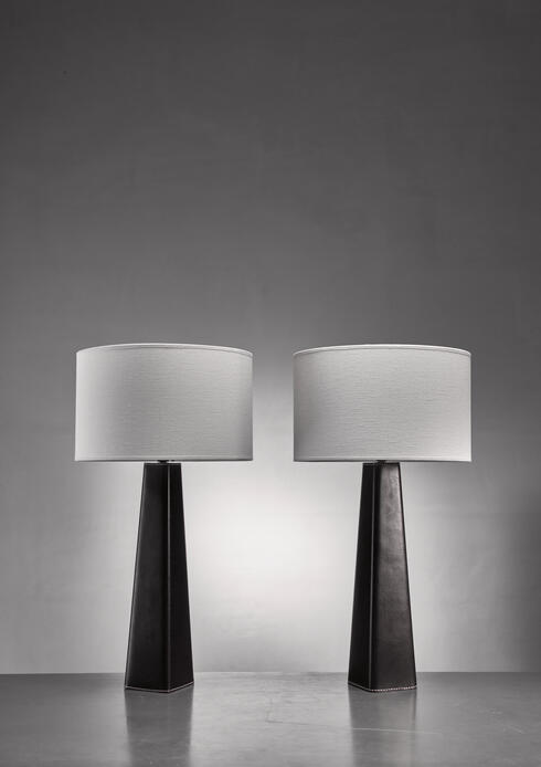 Bloomberry - Pair of Scandinavian Modern black leather clad table lamps
