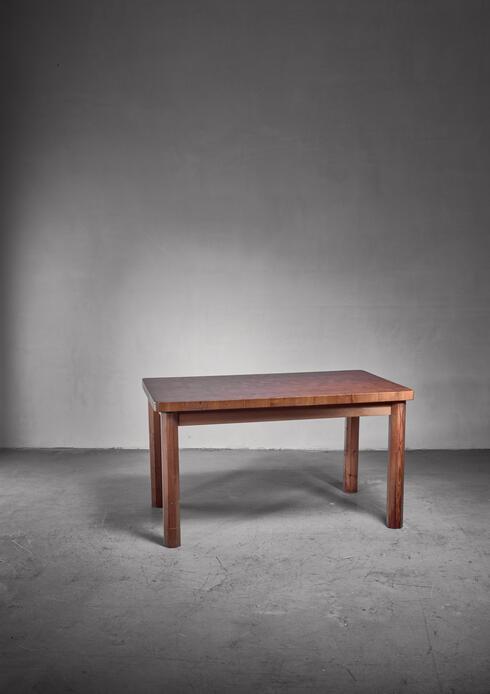 Bloomberry - Leif Wikner pine dining table and bench, 1960s