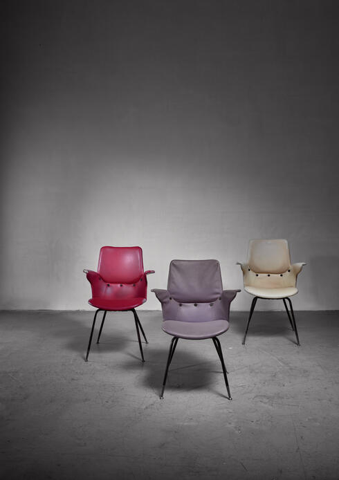 Bloomberry - Set of 3 Gastone Rinaldi DU20 side chairs, Italy