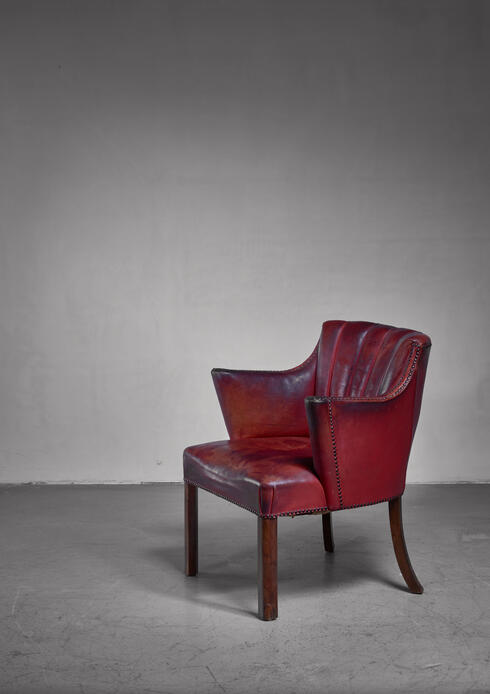 Bloomberry - Art Deco wood and leather armchair