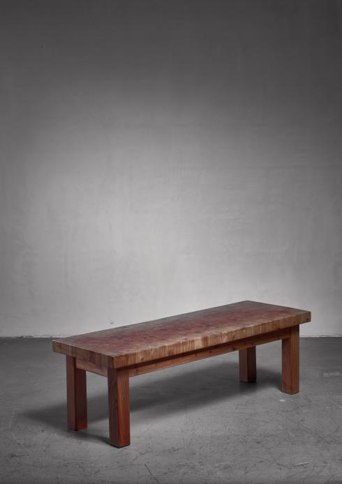 Bloomberry - Leif Wikner pine bench or end table, 1960s