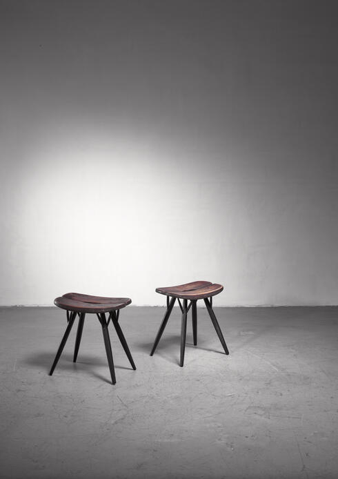 Bloomberry - Pair of Pirkka Low Stools by Ilmari Tapiovaara for Laukaan Puu