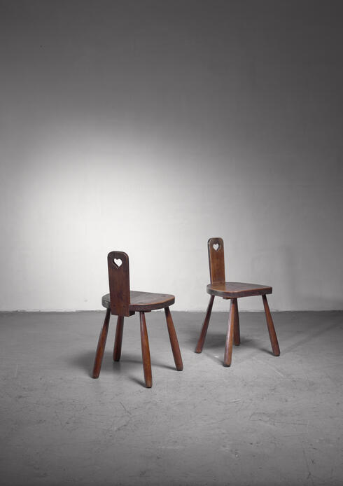 Bloomberry - Pair of Danish folk art chairs oak with round tapered legs