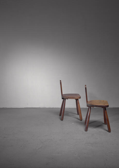 Bloomberry - Pair of folk art oak chairs