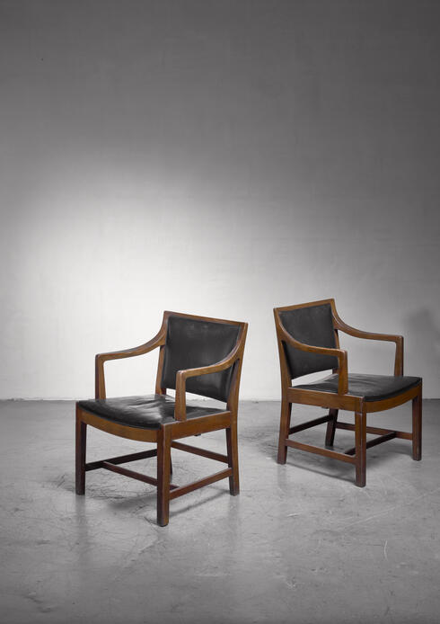 Bloomberry - Pair of Kay Fisker attributed  armchairs in dark green leather