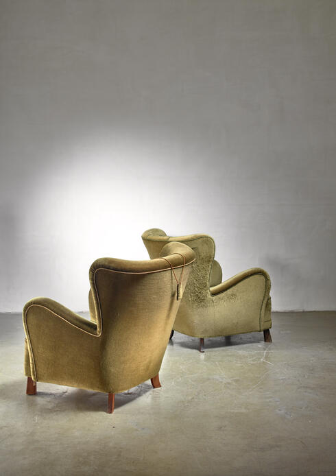 Bloomberry - Pair of green Otto Schulz lounge chairs, Sweden, 1930s