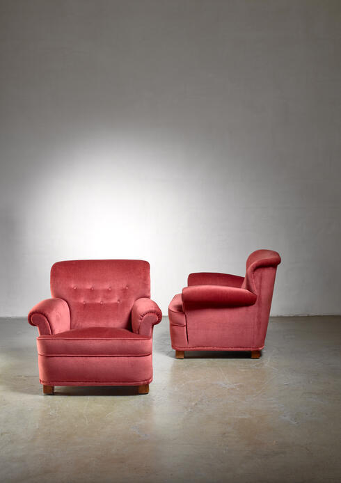 Bloomberry - Carl-Johan Boman pair of easy chairs, Finland, 1940s