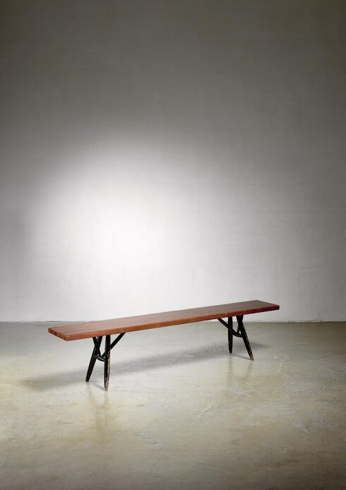 Bloomberry - Ilmari Tapiovaara bench for Laukaan Puu, Finland, 1950s