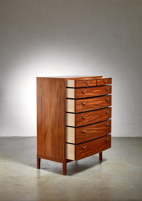 Bloomberry - Ole Wanscher mahogany and brass commode, Denmark