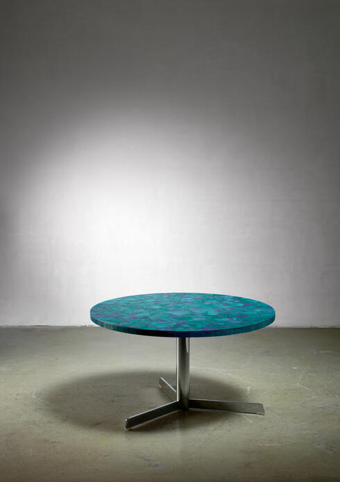 Bloomberry - Berthold Muller mosaic coffee table in blue, Germany, 1950s