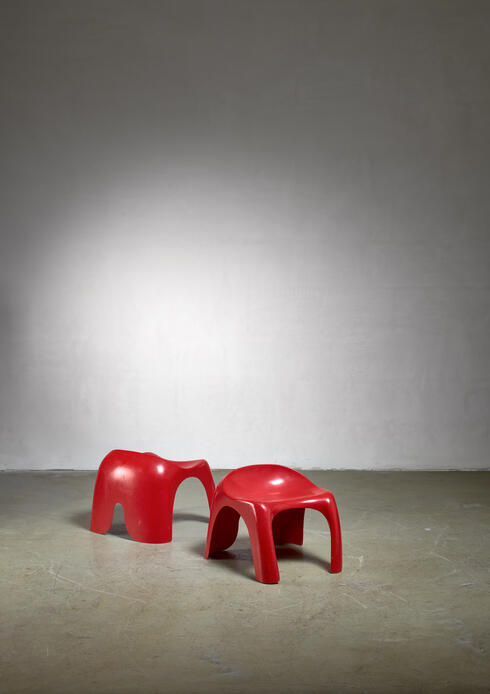 Bloomberry - Pair of red polyester Stacy Dukes stools, 1960s