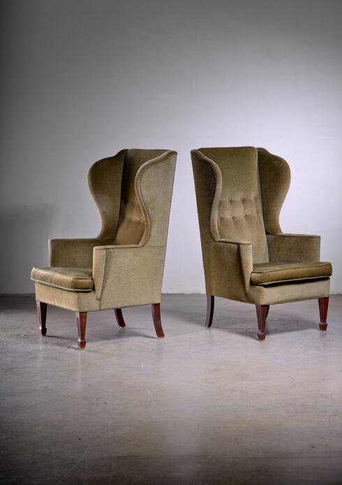 Bloomberry - Pair of Scandinavian Modern green velour wingback lounge chairs