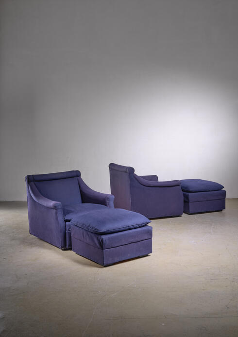 Bloomberry - Pair of Lounge Chairs with Ottoman by Caccia Dominioni for Azucena