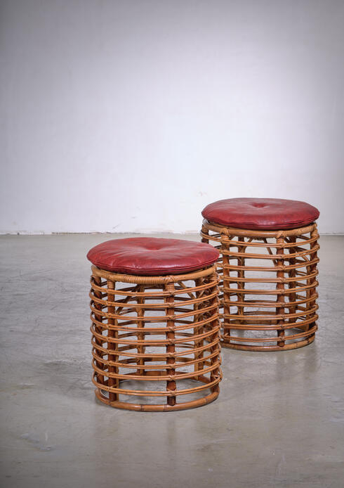 Bloomberry - Pair of wicker stools, Italy