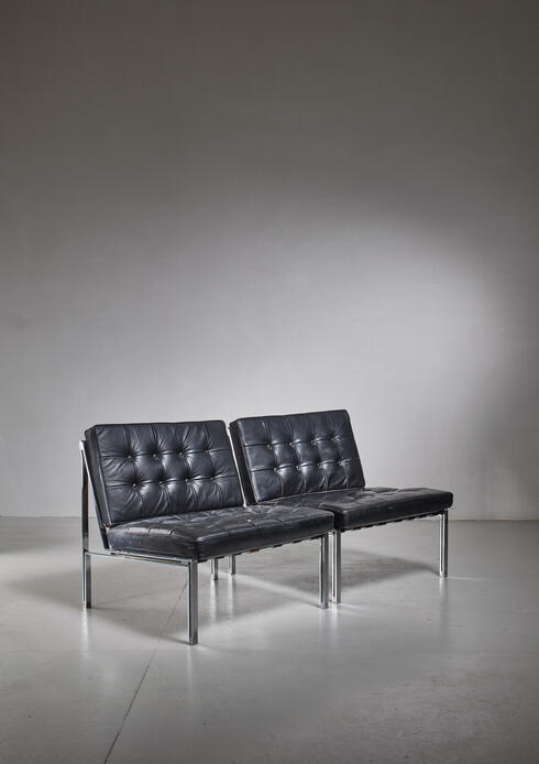 Bloomberry - Pair of Kurt Thut Side Chairs with Black Leather Tufted Cushions