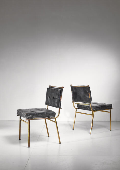 Bloomberry - Mathieu Matégot Rare Pair of Brass and Leather Chairs, France