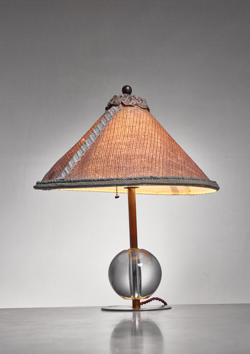 Bloomberry - Handcrafted Art Deco Table Lamp with Crystal Glass Ball Base and Jute Shade