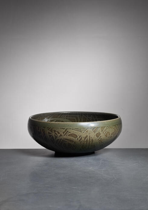 Bloomberry - Nils Thorsson green ceramic bowl for Royal Copenhagen, 1950s