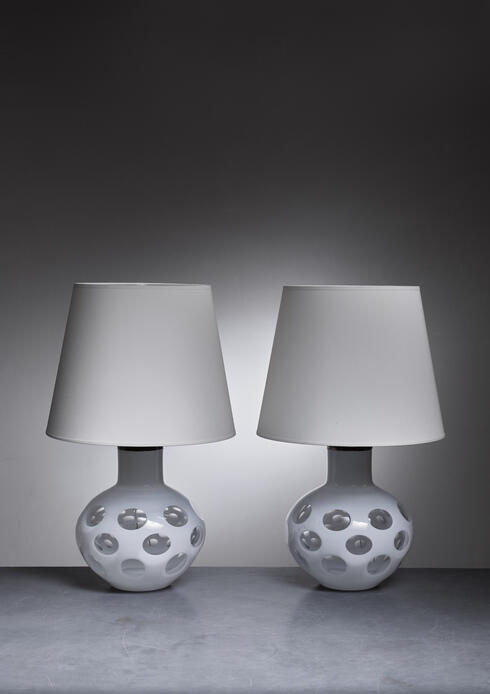 Bloomberry - Carlo Nason pair of Moon table lamps for Mazzega in white, Italy, 1970s